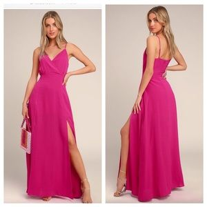 Lulu's Evening Of Splendor Hot Pink Maxi Dress.